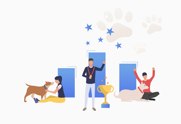 Dueños de perros celebrando la victoria en la exposición canina vector gratuito