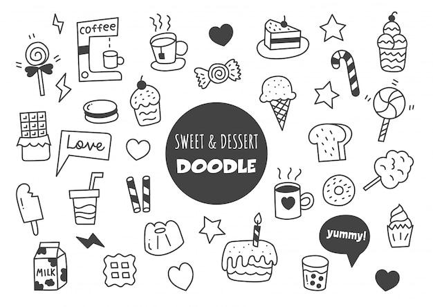Dulce y postre kawaii doodle Vector Premium