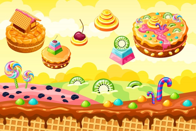 Dulce tierra dulce. ilustración del juego de dibujos animados Vector Premium