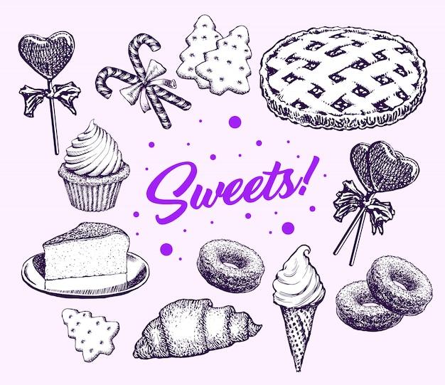 Dulces tortas colección dibujados a mano elementos retro vector gratuito