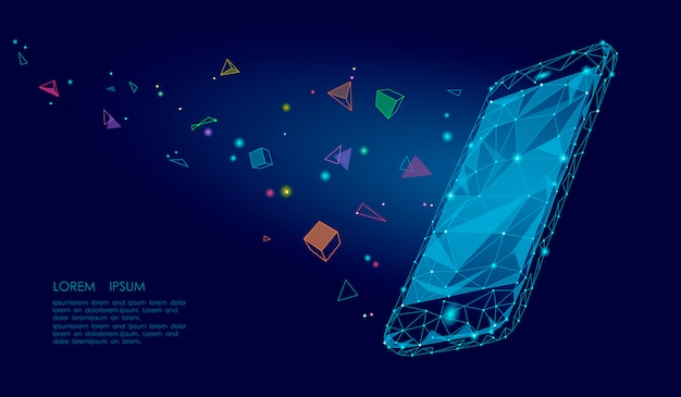 E-book teléfono inteligente móvil 3d realidad virtual imaginación visual efecto mental, bajo poligonal poligonal Vector Premium