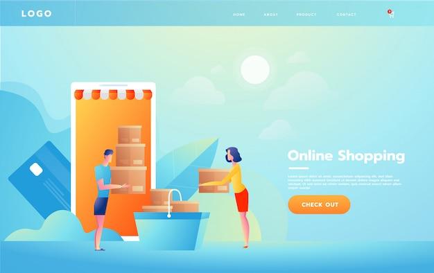 E-commerce o concepto de compras en línea con las manos que alcanzan desde una pantalla de computadora sosteniendo un producto de compras. Vector Premium