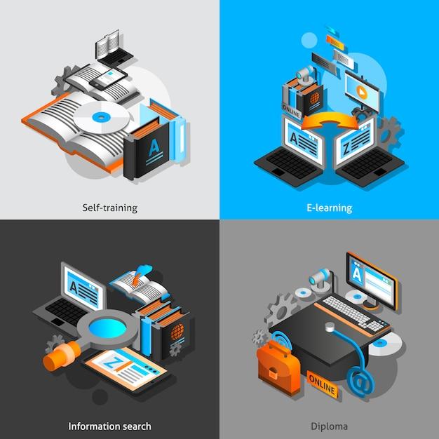 E-learning isometric set vector gratuito