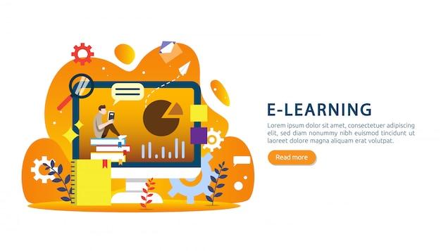 E-learning, libro electrónico o concepto de educación en línea para banner Vector Premium