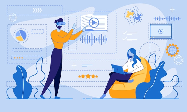E-learning a través de internet o cuenta de realidad virtual Vector Premium