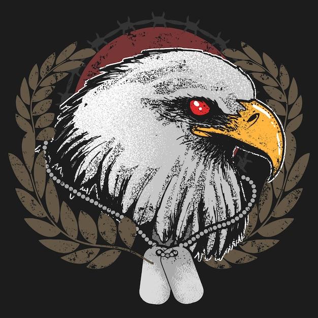 Eagle head usa ejército con etiqueta vector de ilustraciones Vector Premium