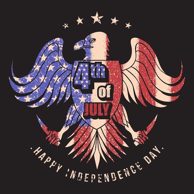Eagle usa bandera 4 de julio ilustración vectorial Vector Premium