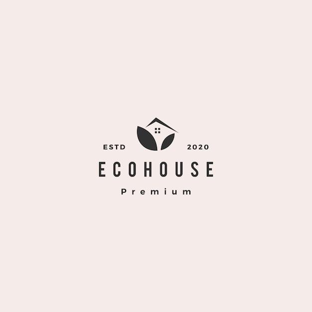 Eco casa logo hipster retro vintage icono Vector Premium