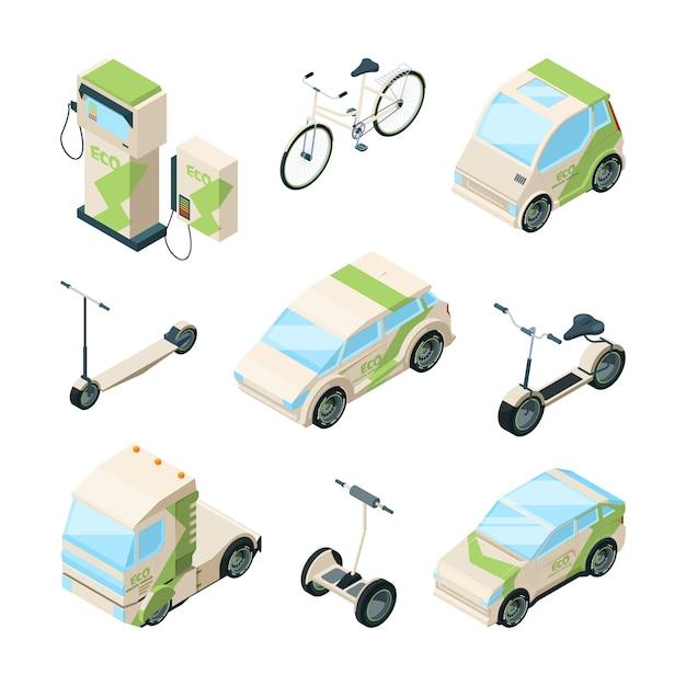Eco transporte. coches scooter eléctrico bicicletas de skate gyrocopter bus isométrico ecología técnicas fotos Vector Premium