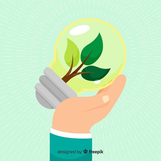 Ecología concepto fondo plano estilo vector gratuito