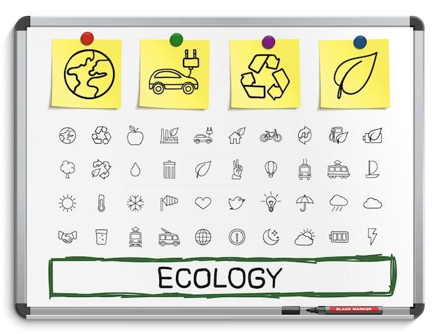 Ecología dibujo a mano los iconos de línea. doodle conjunto de pictogramas. ilustración de signo de boceto en pizarra blanca con pegatinas de papel. energía, respetuoso del medio ambiente, medio ambiente, árbol, verde, reciclar, bio, limpiar Vector Premium