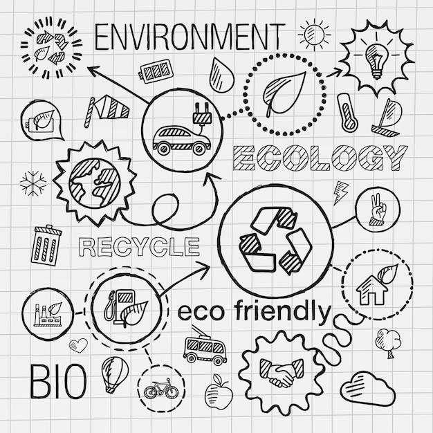 Ecología infografía mano dibujar iconos. boceto de ilustración de doodle integrado para conceptos ecológicos, ecológicos, bio, energía, reciclaje, automóvil, planeta, verde. conjunto de pictogramas conectados por sombreado. Vector Premium