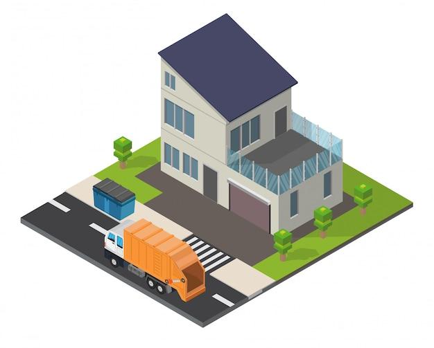 Ecología isométrica hogar fondo de baja poli. Vector Premium