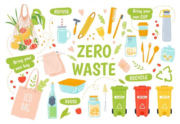 Ecología reutilizable. cero desperdicio, reciclaje y productos reutilizables. cepillo de dientes y cepillo para el cabello de madera, frascos de vidrio, tapa y bolsa de supermercado ecológica. lonchera ecológica. clasificación de residuos Vector Premium