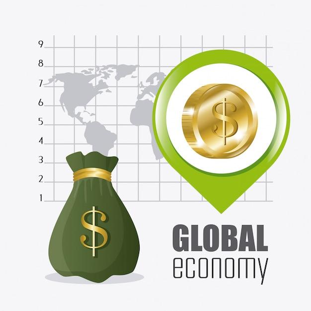 Economía global, dinero y negocios vector gratuito