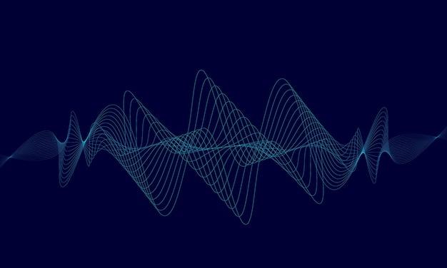 Ecualizador digital azul abstracto, vector de onda de sonido Vector Premium