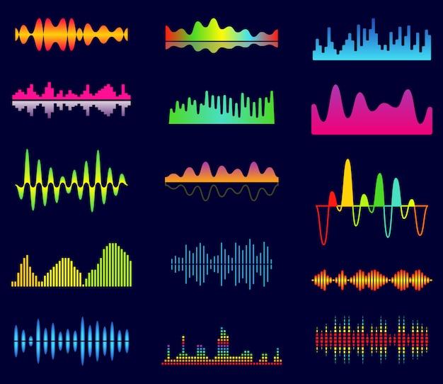 Ecualizador de música, ondas analógicas de audio, frecuencia de sonido de estudio, forma de onda del reproductor de música Vector Premium