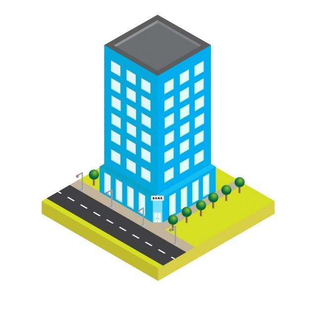 Edificio azul isométrico | Descargar Vectores gratis