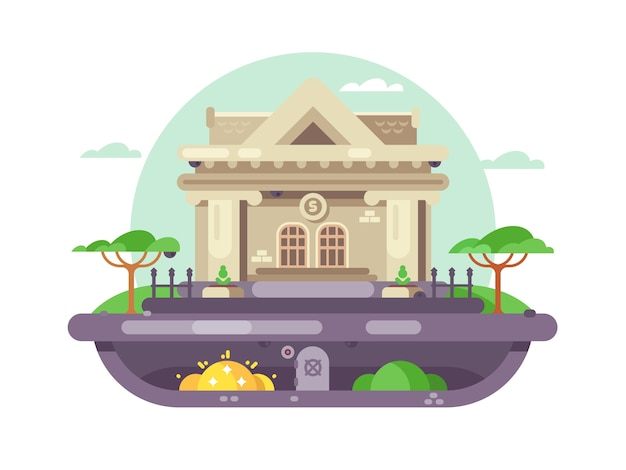 Edificio de banco arquitectónico. institución financiera con columnas con estilo. ilustración Vector Premium