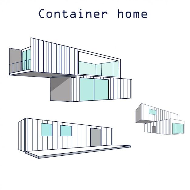 Edificio de la casa del envase con la insignia aislada Vector Premium