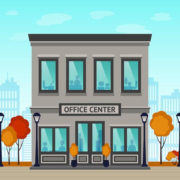 Edificio del centro de oficinas vector gratuito