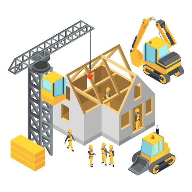 Edificio en construcción. conjunto de imágenes isométricas. Vector Premium