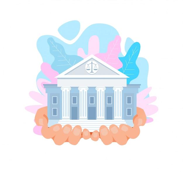 Edificio de la corte suprema de estados unidos, ilustración vectorial plana Vector Premium