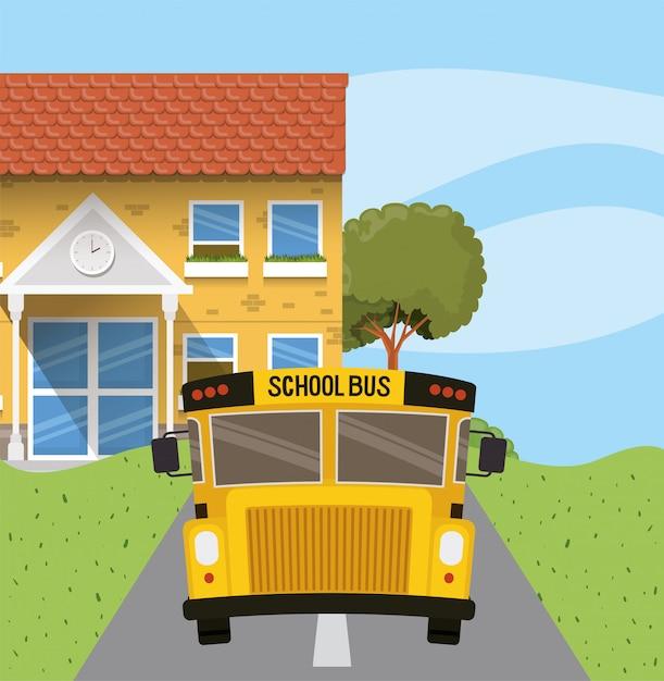 Edificio escolar y autobús en la escena del camino. vector gratuito