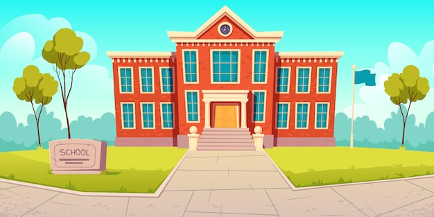 Edificio escolar institución educativa, universidad vector gratuito