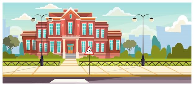 Edificio escolar con valla pequeña alrededor. vector gratuito