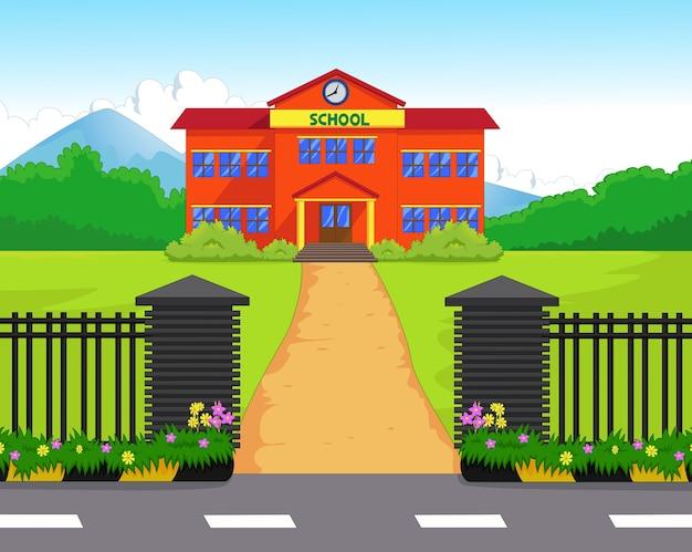 Edificio De La Escuela De Dibujos Animados Con Patio Verde
