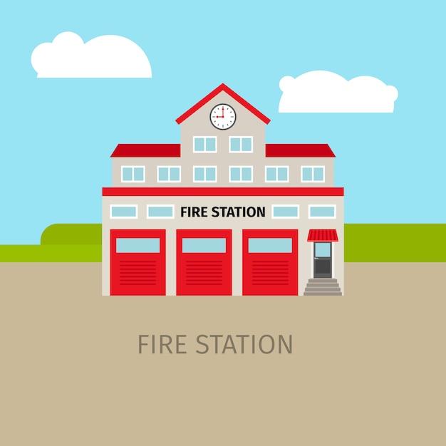 Edificio de la estación de bomberos de colores Vector Premium