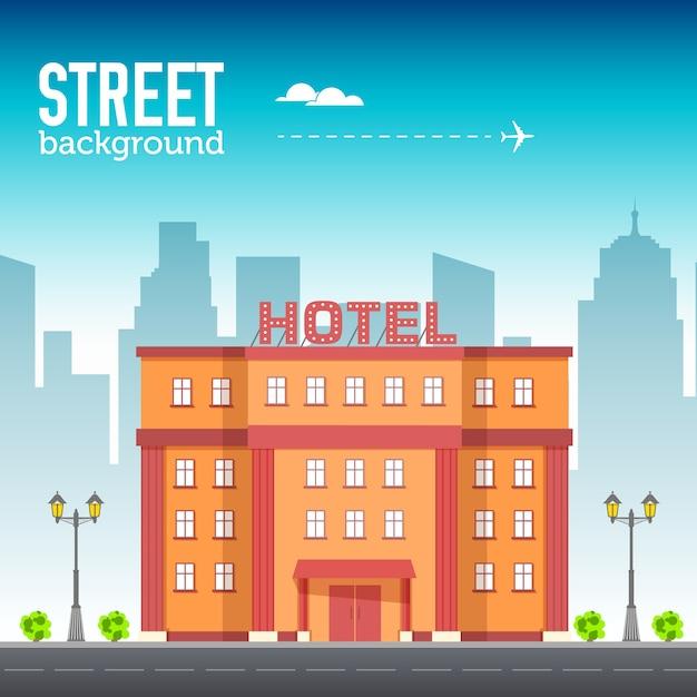 Edificio del hotel en el espacio de la ciudad con carretera en concepto de fondo de estilo plano Vector Premium