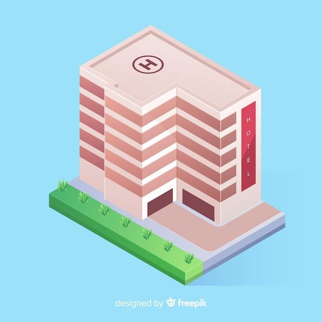 Edificio de hotel isométrico vector gratuito