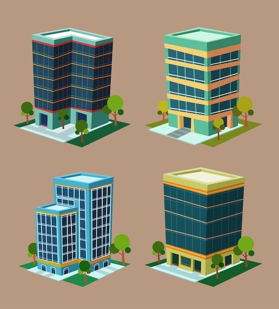 Edificio isométrico de varios estilo de dibujos animados ...