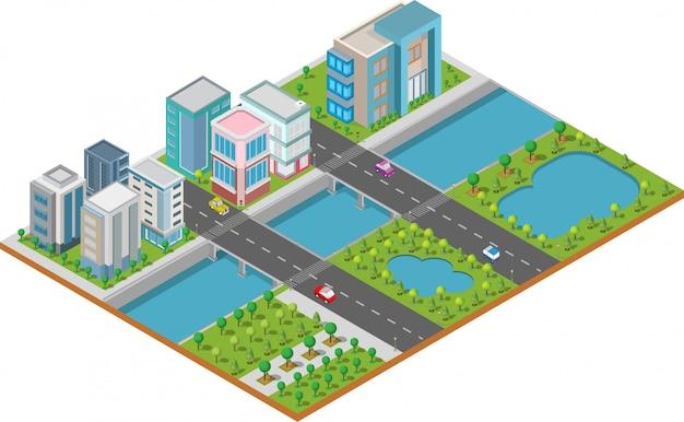 Edificio isométrico están en el patio con la carretera y los árboles. ciudad inteligente y parque público Vector Premium