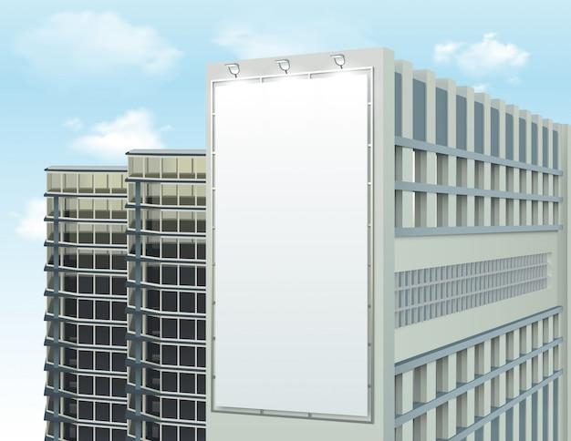 Edificio de pared anuncio espacio composición vector gratuito