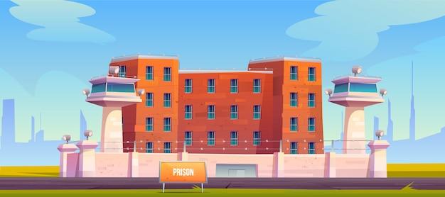 Edificio de la prisión, alambre de púas tensado cercado en la cárcel vector gratuito