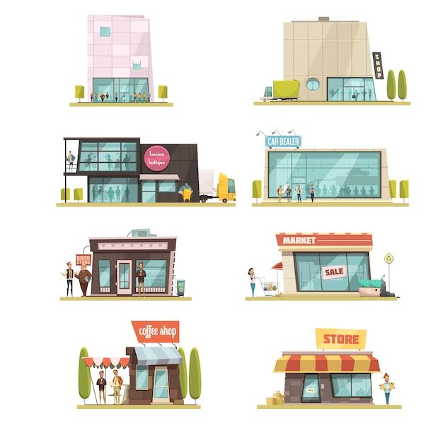 El edificio del supermercado fijó con la ilustración aislada del vector de la historieta de los símbolos de las cafeterías vector gratuito
