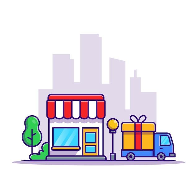 Edificio de la tienda y camión de reparto car cartoon vector gratuito
