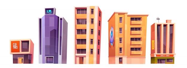 Edificios de la ciudad, conjunto de arquitectura de casas modernas vector gratuito