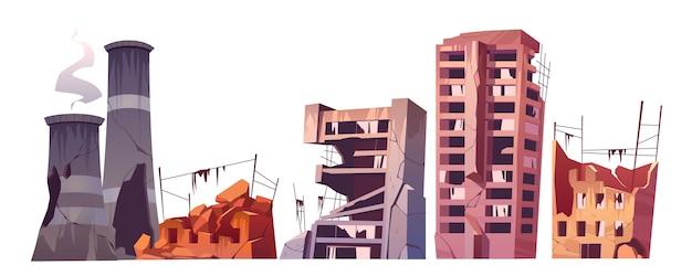 Edificios de la ciudad destruida, juego de destrucción de guerra vector gratuito
