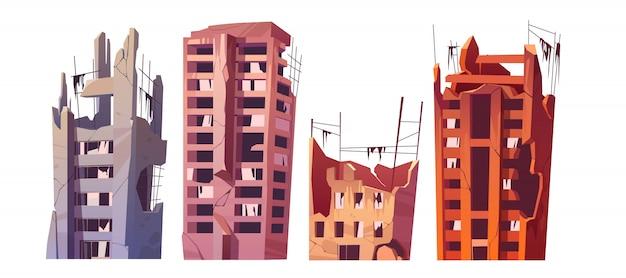 Edificios de la ciudad destruidos después de una guerra o un desastre. vector gratuito