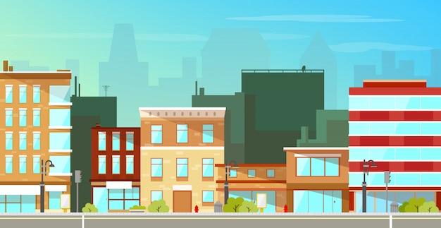 Edificios de la ciudad moderna de fondo plano vector gratuito