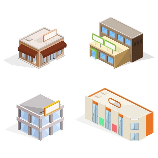 Edificios comerciales ilustración 3d isométrica vector gratuito