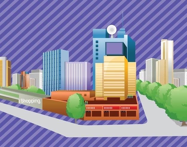 edificios de la ciudad libre de vectores Vector Gratis