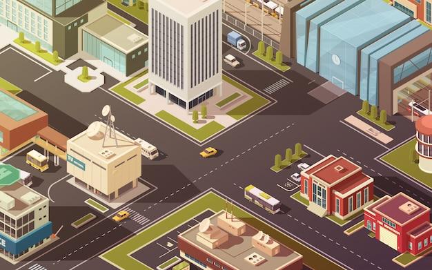 Edificios gubernamentales de la ciudad calles carreteras y tráfico ilustración vectorial isométrica vector gratuito