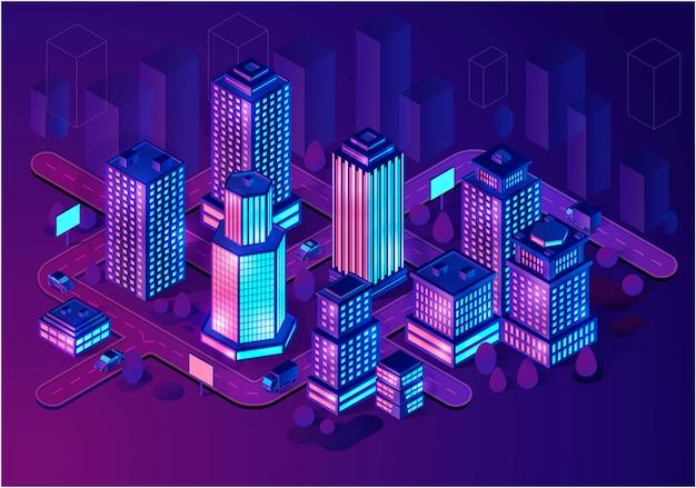 Edificios inteligentes isométricos Vector Premium