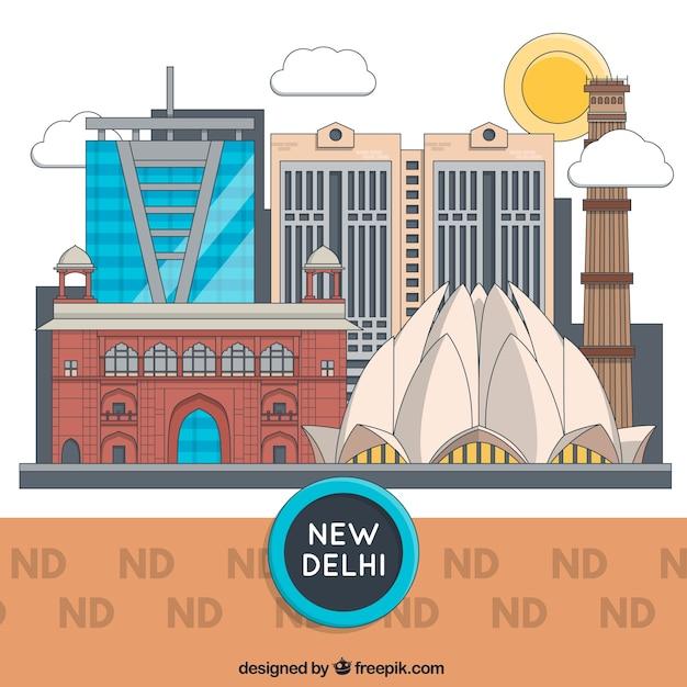 Edificios de nueva delhi vector gratuito