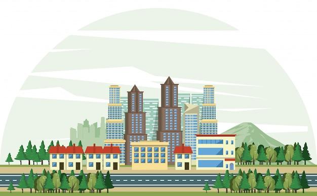 Edificios urbanos con paisaje urbano. vector gratuito